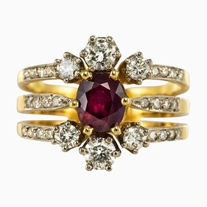 French Diamond & Ruby Gold Three Band Ring