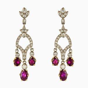 Aretes colgantes Diamond & Ruby de oro blanco de 18 quilates. Juego de 2