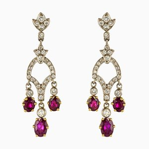 Diamond & Ruby 18 Karat White Gold Drop Earrings, Set of 2
