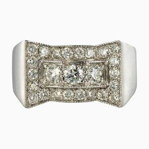Art Deco Stil 0.87 Karat 18 Karat Weißgold Ring