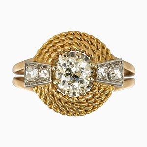 Französischer 18 Karat Ring in Gelbgold mit Diamanten in Rosenschliff, 1960er