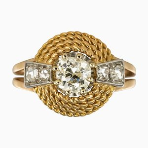 French Cushion and Rose Cuts Diamond 18 Karat Yellow Gold Ring, 1960s