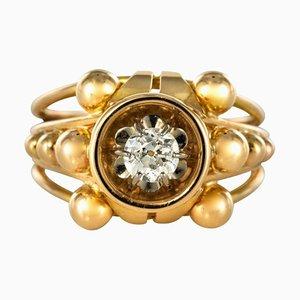 French Diamond 18 Karat Yellow Gold Ring, 1960s