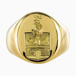 18 Karat Yellow Gold Armorial Bearings Men's Signet Ring