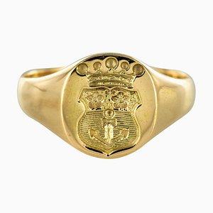 18 Karat Yellow Gold Armorial Bearings Unisex Signet Ring