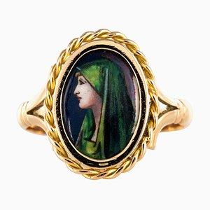 Französischer Limoges Emaillierter 18 Karat Ring in Gelbgold, 1960er