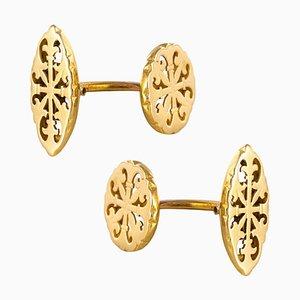 Antike Französische 18 Karat Gold Gold Manschettenknöpfe, 1900er, 2er Set
