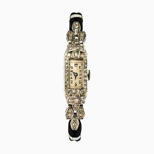 Platinrote französische 18 Karat Diamond Lady Armbanduhr in Weißgold, 1930er