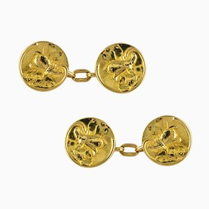 Art Nouveau French Lily Flowers 18 Karat Yellow Gold Cufflinks, 1900s, Set of 2