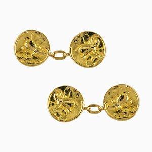 Art Nouveau French Lily Flowers 18 Karat Yellow Gold Cufflinks, 1900s, Set of 2