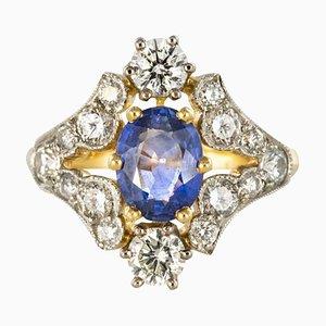 Sapphire & Diamond Gold Platinum Ring