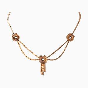 Französische 18 Karat Gelbgold Quaste Halskette, 1940er
