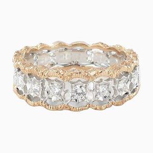 Anillo Diamond Two Color de filigrana dorada