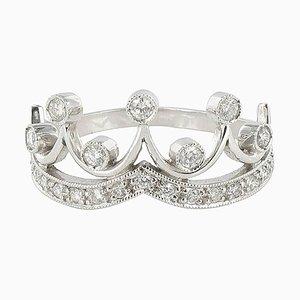 18 Karat Weißgold Tiara Ring aus Diamaterial