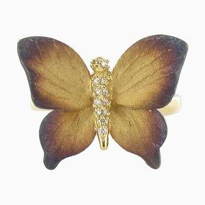 Emaillierter Diamant und Gelbgold Schmetterling Ring