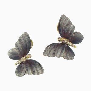 Art Nouveau Style Enamel Diamond Gold Butterfly Stud Earrings, Set of 2