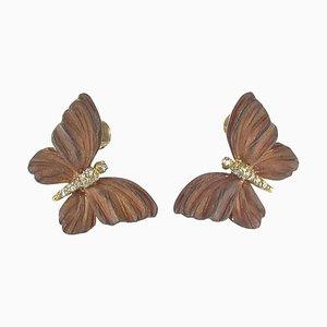 Roséfarbene emaillierte diamantfarbene goldene Schmetterlingsohrringe, 2er Set