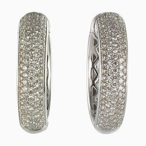 Diamond Gold Hoop Earrings, Set of 2