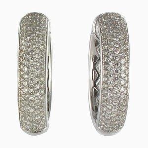 Orecchini a cerchio in oro con diamanti, set di 2