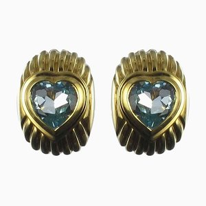 Gold Topaz Heart Stud Earrings, Set of 2