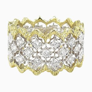 Diamond Two Color Gold Filigree Ring