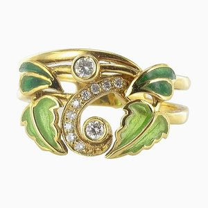 Emaillierter Diamant Goldring