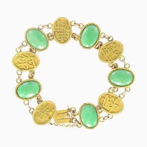 Jade 18 Karat Yellow Gold Bracelet, 1920s