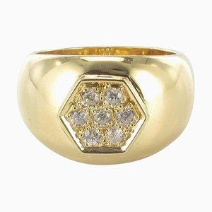 Anillo grande con banda de oro y diamantes