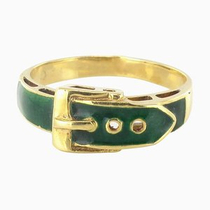 Modern French Green Enamel Gold Belt Ring