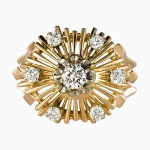 Anillo radiante Diamond de oro rosa de 18 quilates, años 60