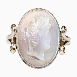 Antique Moonstone Cameo White Gold Ring