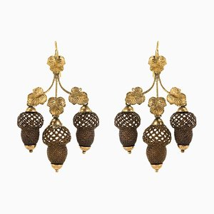 19th Century Yellow Gold Hair Leaves Glans Drop Earrings by Brown, Set of 2