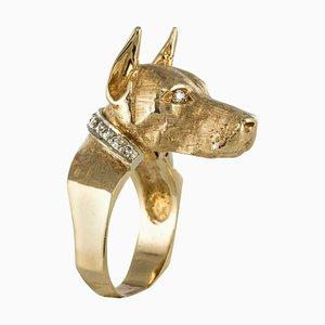Anillo en forma de perro de diamantes en amarillo, años 60