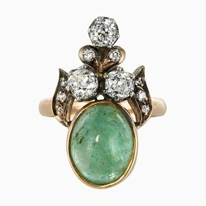 19th Century 4.50 Carat Cabochon Emerald Diamonds Duchess Ring by Silver