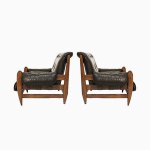 Poltrone in legno Jacaranda di Jean Gillon per Italma Wood Art, set di 2