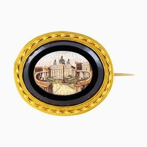 Spilla micromosaica in oro giallo a 18 carati, XIX secolo