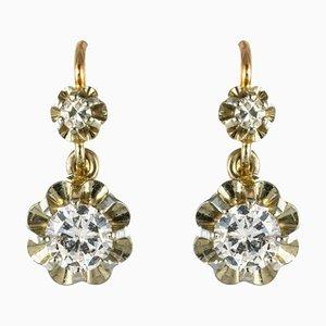 Aretes Diamantes de oro blanco de 18 quilates con palancas de Front, años 30