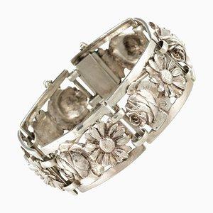 Französisches Silbernes Armband mit Blumen aus der Belle Époque, 1900er