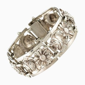 French Belle Époque Flowers Silver Bracelet, 1900s
