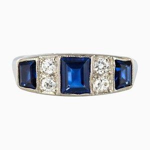 Art Deco 1.69 Carat Sapphire Diamonds White Gold Garter Ring, 1930s