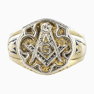 Masonic Yellow Gold Platinum Signet Man Ring, 1960s