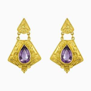 Etruscan Style 8 Carat Amethyst 18 Karat Yellow Gold Earrings, 1960s