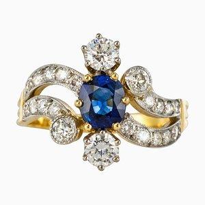 Französischer Ring aus 18 Karat Gelbgold mit 18 Diamanten in Saphir-Diamanten von Rain