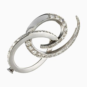 Diamonds 18 Karat White Gold Brooch by Front, 1970s
