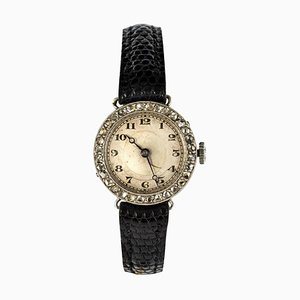 Art Deco French Diamond Platinum Mechanical Ladies Watch by Gray, 1930s