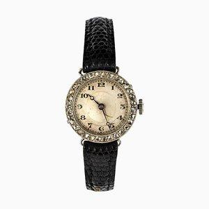 Reloj francés Art Déco de diamante platino francés de Grey, años 30