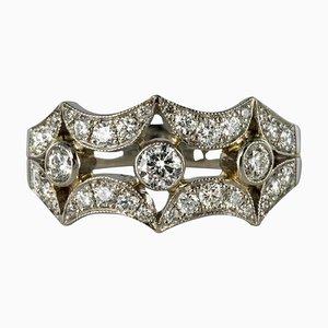 Anillo francés de diamantes de platino de borde ámbar de 0,90 quilates