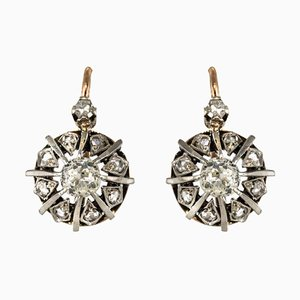 19th Century Rose Gold and Diamond Drop Earrings by Front