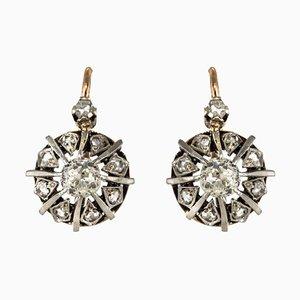 Aretes colgantes de diamantes rosa y oro, siglo XIX