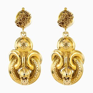 14 Karat Yellow Gold Dangle Earrings, 1960s